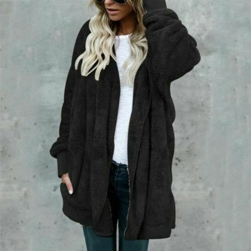 Winter Sweater Outwear Tops Plus Size Pocket Coat
