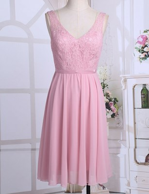 Material: Polyester+Chiffon Color: Multicolor(as pictures show) Dress Length: Knee Length