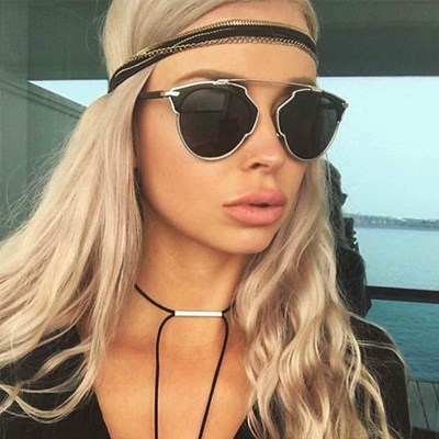 Aviator Sunglasses Gold Silver Frame Smoked Lens