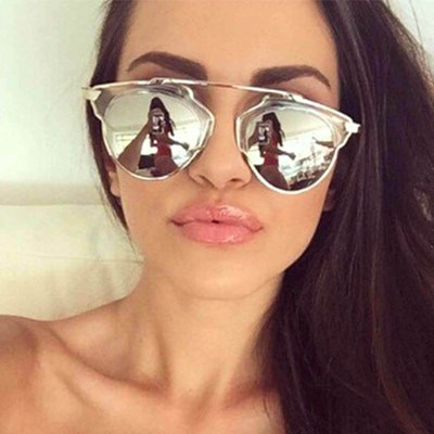 Aviator Sunglasses Silver Mirrored Lens Women