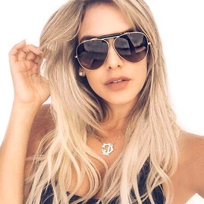 Women Sunglasses Thick Metal Frame Dark