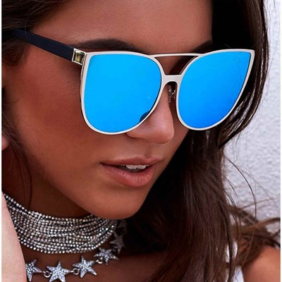 Oversized Sunglasses Metal Frame Mirrored Lens