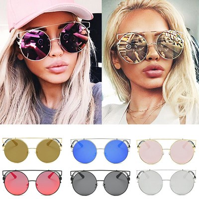 Cat Eye Sunglasses Flat Mirrored Lens Metal Frame