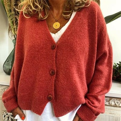 Neck Long Sleeve Knit Cardigan Sweater Button