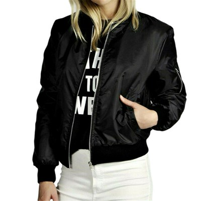 Solid Biker Coat Loose Outwear Bomber Jacket