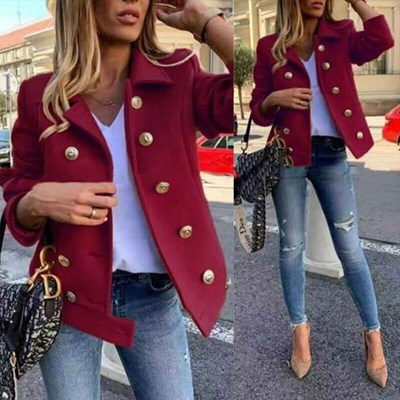 Woolen Lapel Neck Button Coat Jacket