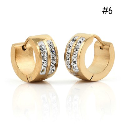 Women Men Stainless 1 Pair Hoop Earrings