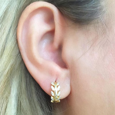 Hoop Earrings Gold Color Crystal Jewelry