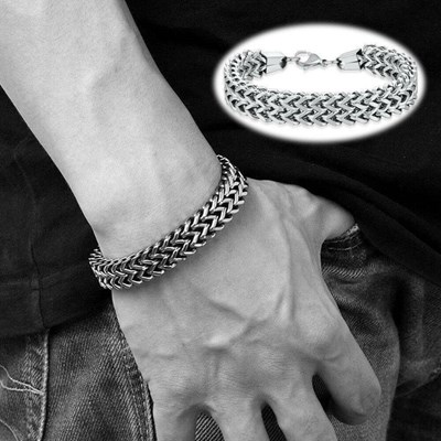 Silver Stainless Steel Link Punk Chain Bracelet