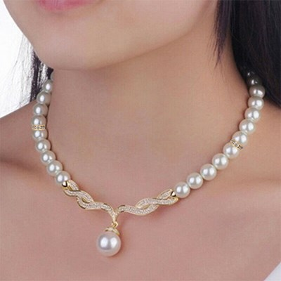 Bridal Wedding Crystal Pearl Necklace Set