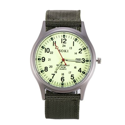 Military Army Date Canvas Strap Analog Watch