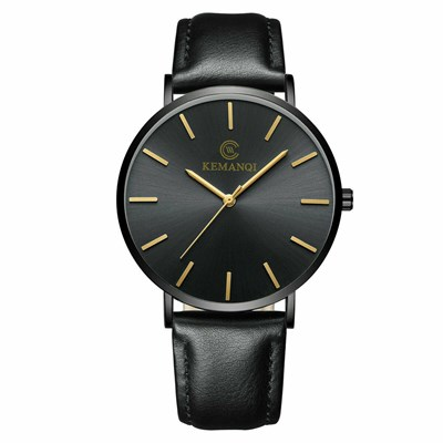 Leather Band Analog Quartz Round Wrist Watch