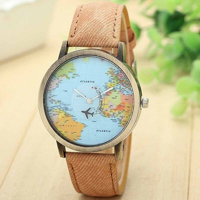 map airplane Wrist Watch Denim Leather