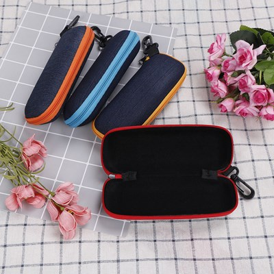 Portable zipper glasses case hard