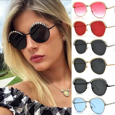 Round Sunglasses Women Shades Pearl